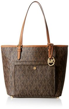 786ed22a03d4 Michael Kors NS Jet Set Tote Womens Shoulder Bag Purse Brown  gt  gt  gt
