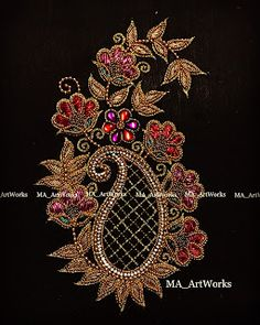 Hand Embroidery Design Patterns, Hand Embroidery Flowers, Embroidery Works, Hand Work Blouse Design, Simple Blouse Designs, Simple Designs, Zardosi Embroidery, Beaded Embroidery, Bird Pencil Drawing