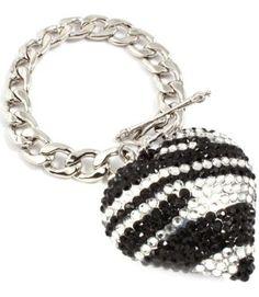 Amazon.com: BLING Leopard Zebra Animal Print Designer Crystal & Rhinestone Handmade Heart Toggle Bracelet By Jersey Bling (Zebra): Jewelry
