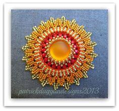 Aztec Moon and Aztec Sun - Tutorial for centrepiece/pendant    patrickduggandesigns - Jewelry on ArtFire