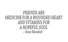 """""""Friends are medicine for a wounded heart and vitamins for a hopeful soul"""" ~ Steve Maraboli"""
