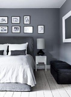 Grey + White bedroom
