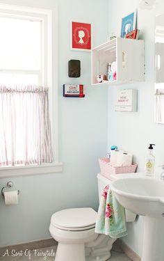 "A Sort Of Fairytale: First Aid for My Bathroom - A Makeover {for under $150} Behr paint ""Cumulus"""