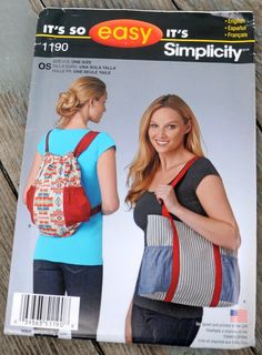Simplicity Accessories Easy Sewing Pattern 1388 Rucksacks /& Bags