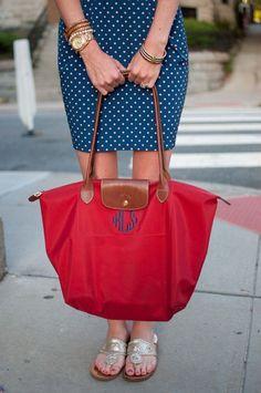 Monogrammed Longchamp bag. The prefect red bag! I wonder where it would get monogrammed?