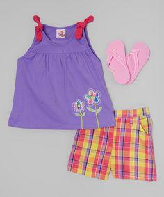 Purple Floral Babydoll Top Set - Infant & Toddler