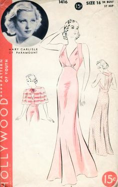 1930s RARE Beautiful Nightgown and Cape Pattern Hollywood 1416 Features Starlet Mary Carlisle Bias Cut Halter Gown Strappy Back Perfect as Evening Dress Short Lovely Cape Bust 34 Vintage Sewing Pattern