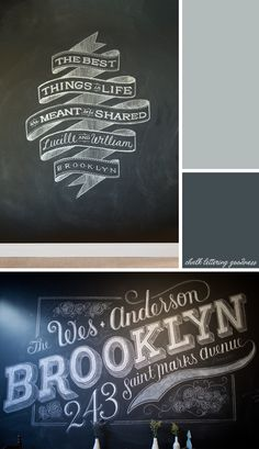 Hand created type on chalk board