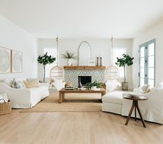 Family Room Inspiration The tile of the fireplace was the color inspiration for the whole house Tile is often the first decision about color I make so it's usually the jumping off point My Living Room, Home And Living, Living Room Decor, Coastal Farmhouse, Farmhouse Homes, Home Renovation, Home Remodeling, Decor Interior Design, Interior Decorating