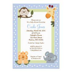 Jungle Safari Blue 5x7 Baby Shower Invitations