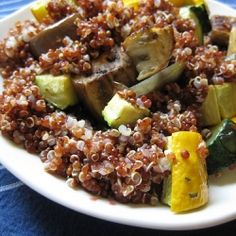 Farmers market produce going a little soft?  Roast them up for a toasted quinoa salad.