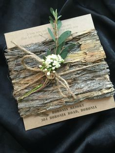 Gorgeous into the woods invitation sample .. Made with real bark ... Stunning for a backyard rustic wedding