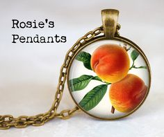 PEACHES Pendant Necklace  Botanical Jewelry  by RosiesPendants