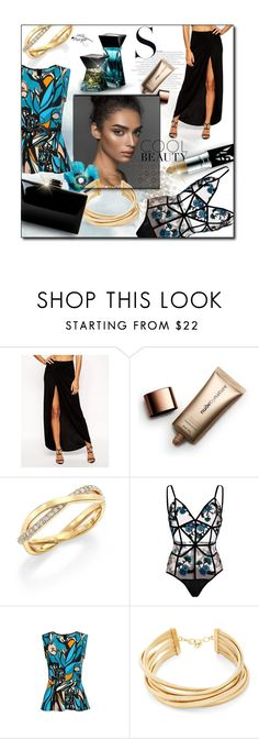 """Evening outfit"" by kseniz13 ❤ liked on Polyvore featuring ASOS, Nude by Nature, Anastasia Beverly Hills, De Beers, For Love & Lemons, BCBGMAXAZRIA, Sexy, Elegant, bodysuit and EveningOutfit"