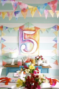 DIY watercolor birthday - with a link to details, sources and how-to's at the end of the post - from The Handmade Home (Diy Birthday Number) Lila Party, Festa Party, Sofia Party, Handmade Home, Kunst Party, Diy Birthday Decorations, Art Party Decorations, Diy Birthday Bunting, Holiday Decorations