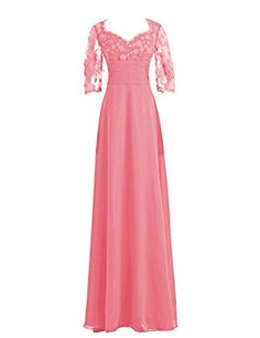 768df74c0aa Diyouth 34 Lace Sleeves Chiffon Mother of the Bride Dress Coral Size 22W    You can