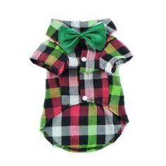 Classic Gentle Plaid Dog Shirt Dog Clothes Cozy Pet Shirt + Dog Bow Tie Collar   Shea needs this, too.