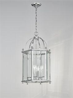 Madison 4 light Lantern in chrome finish with bevelled glass panels 3 Light Pendant, Lantern Pendant, Pendant Lighting, Curved Glass, Beveled Glass, Lighting Bugs, Indoor Lanterns, Emergency Lighting, Globe Lights
