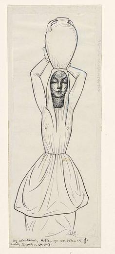 Leo Gestel   Ontwerp voor een vignet: vrouw met kruik op het hoofd, Leo Gestel, 1891 - 1941  