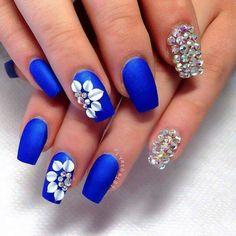 Navy blue nails.