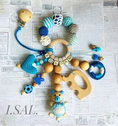 Blue Teether with Wooden Bird Ring, Crochet heart, bear, juniper and cotton beads, Personalized toy with clip, Baby boy Gift