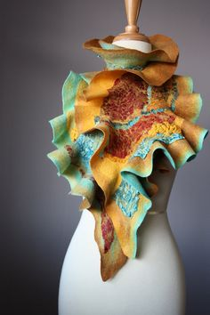 Nuno Felted scarf  Wool  Silk Caramel Turquoise by VitalTemptation, $135.00