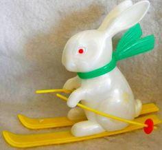Vintage 1960's Plastic Fiction Rabbit Toy, via Flickr.