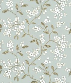 Apple Blossom (BW45039/2) - G P & J Baker Wallpapers - This delicate trailing branch design contrasts clusters of round petals with sharper leaf and branch forms. Shown here in aqua/gilver - more colours are available. Please request a sample for true match.