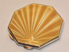 Vintage Silver Art Deco Yellow Guilloche
