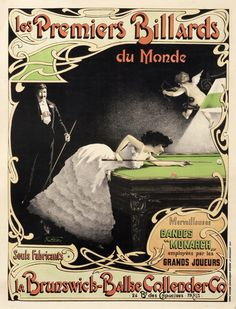 Les Premiers Billards du Monde Vintage Poster (artist: Naredo) France c. Vintage Advertisements, Vintage Ads, French Vintage, Vintage Posters, Art Nouveau Poster, Play Pool, Billiards Pool, Free Canvas, Circus Theme