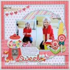 #papercraft #scrapbook #layout JanaEubank_NoelMignon_Sweet1