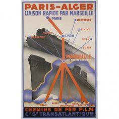 Robert Falcucci - French Travel Poster: France to Algeria, 1935 / Colletti Gallery