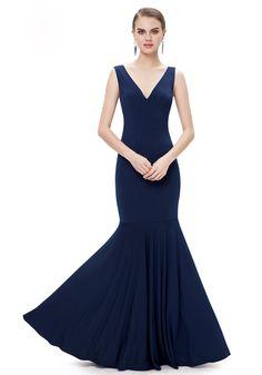 V Neck Floor Length Blue Chiffon Trumpet-Mermaid Evening Dress