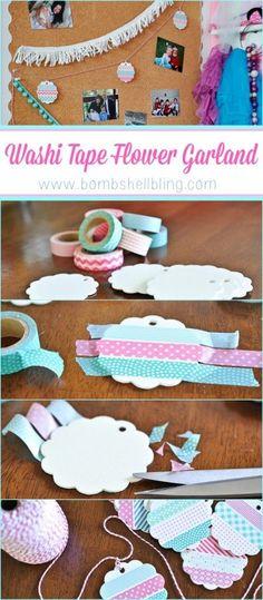Washi Tape Flower Garland DIY Tutorial - Sarah McKenna of Bombshell Bling - Washi Tape Cards, Washi Tape Diy, Masking Tape, Washi Tapes, Tape Crafts, Diy And Crafts, Diy Garland, Flower Garlands, Diy Flower