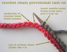 Crochet chain provisional cast-on by Tin Can Knits. Versatile technique that leaves live stitches, which can later be knit from in the opposite direction; often used in seamless knitting patterns. Knitting Help, Loom Knitting, Knitting Stitches, Knitting Needles, Knitting Patterns, Crochet Patterns, Provisional Cast On Knitting, Hand Knitting, Cowl Patterns
