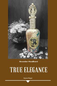 HOME DECOR - BOTTLE - MIXED MEDIA My Design, Mixed Media, Perfume Bottles, Elegant, Simple, Projects, Blog, Beauty, Home Decor