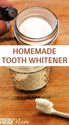 Are your teeth dull and stained? If you'd like to whiten your teeth naturally at home, then whip up this easy DIY recipe. This Homemade Tooth Whitener recipe requires only four items (baking soda, coconut oil, peppermint essential oil, and hydrogen peroxide) and a few minutes to make. Give it a try today and brighten up your pearly whites! #toothwhiteningdiy #teethwhiteningathome   #teethwhiteproducts #teethwhiteningathomebakingsoda #BakingSodaForDandruff