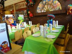 Most Sensational Muppet Party - love the green tableclothes