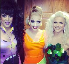 Adore Delano, Bianca Del Rio and Courtney Act. I love that Adore is wearing a Lumpy Space Princess dress.