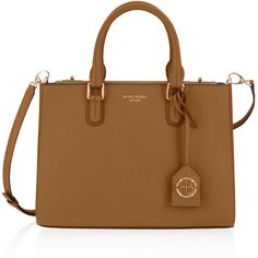 Henri Bendel West 57th Small Turnlock Satchel ($298) ❤ liked on Polyvore featuring bags, handbags, chipmunk, brown handbags, satchel handbags, satchel bag, henri bendel handbags and handle satchel