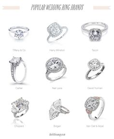 Popular Wedding Engagement Ring Brands: Tiffany & Co, Harry Winston, Tacori, Cartier, Neil Lane, David Yurman, Chopard, Bvlgari, Van Clef & Apparel