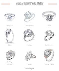 Popular Wedding Engagement Ring Brands: Tiffany & Co, Harry Winston, Tacori, Cartier, Neil Lane, David Yurman, Chopard, Bvlgari, Van Clef & Apparel