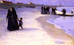 Peder Severin Krøyer, A White Boat at the Shoreline, Late Summer Evening, 1895, Oil on canvas, 41,2 x 66,3 cm, Skagens Museum, Skagen