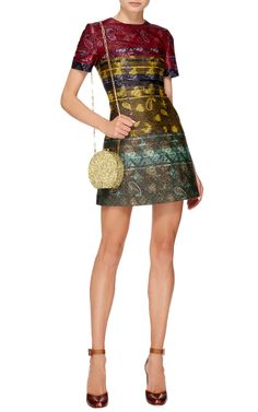 Hirsel Short Sleeved Reverse Material Dress by Mary Katrantzoui. Match this with Metallic Heels and a Pandora Clutch by Charlotte Olympia