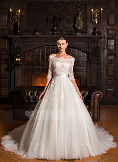 [US$ 379.99] Ball-Gown Off-the-Shoulder Court Train Tulle Lace Wedding Dress