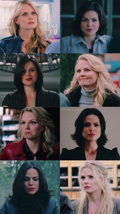Regina And Emma, Once Up A Time, Cute Lesbian Couples, Swan Queen, Regina Mills, Jennifer Morrison, Emma Swan, Ouat, Disney Art