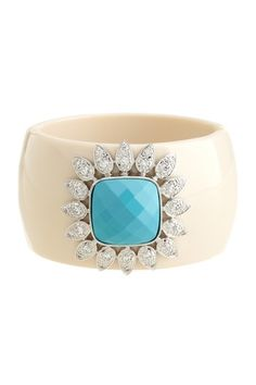 Ivory cuff with turquoise and rhodium plated czs - so cool and summery