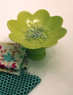 i am sooo making one of these! magnetic pin holder made from a bowl/plate and candle holder!