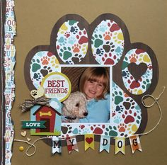 Dog - dog scrapbook layout using Echo Park Dog Collection kit Dog Scrapbook Layouts, Paper Bag Scrapbook, Scrapbook Designs, Scrapbook Sketches, Scrapbook Supplies, Scrapbook Cards, Travel Scrapbook, Kids Scrapbook Ideas, Scrapbook Organization