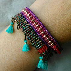 Macrame bracelet set  boho design summer colors